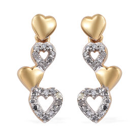 GP Diamond (Rnd), Kanchanaburi Blue Sapphire Heart Earrings (with Push Back) in 14K Gold Overlay Ste
