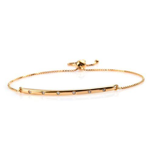 Diamond (Rnd) Bolo Bracelet (Size 6.5 - 9.5 Adjustable) in 14K Gold Overlay Sterling Silver 0.100 Ct
