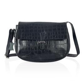 Premium Super Soft 100% Genuine Leather Black Colour Croc Embossed CrossBody Bag (Size 27x20 Cm)