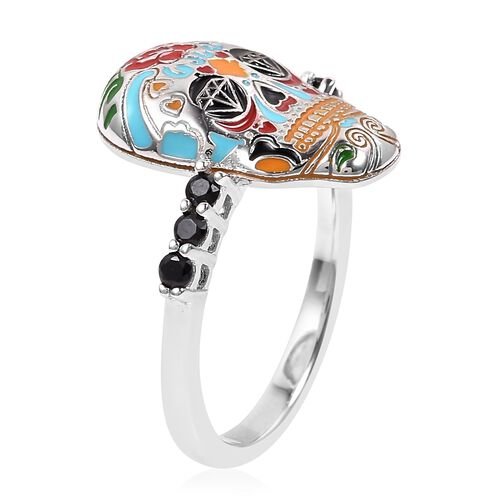 Halloween Collection- Boi Ploi Black Spinel (Rnd), Skull Ring in Rhodium Overlay With Enameled Sterling Silver