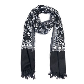 100% Merino Wool Embroidery Black Colour Scarf Size 200x70 Cm