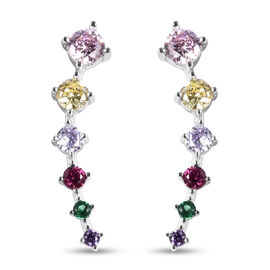 ELANZA Multi Colour Simulated Diamond Climber Earrings in Rhodium Overlay Sterling Silver