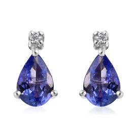9K White Gold AA Tanzanite (Pear 6x4mm), Diamond Earrings (with Push Back) 0.77 Ct.