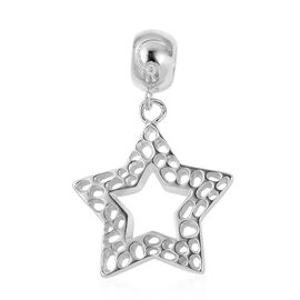 RACHEL GALLEY Rhodium Overlay Sterling Silver Star Lattice Charm Pendant
