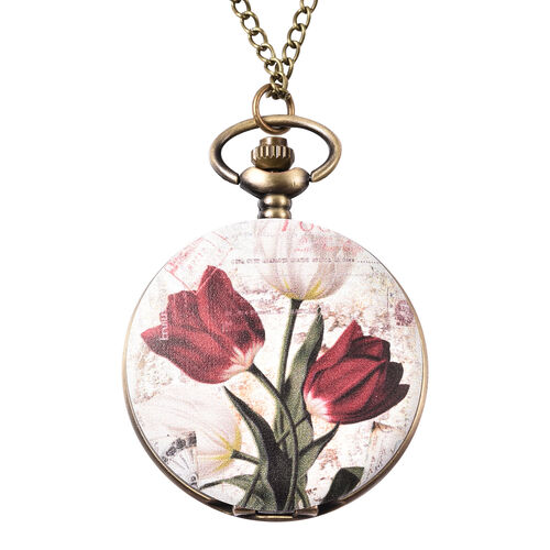 STRADA Japanese Movement Lily Pattern Pocket Watch with Chain (Size 31) in Antique Bronze Plated