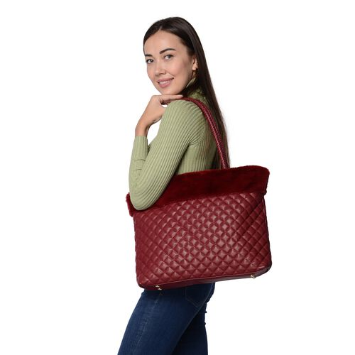 Quilted Pattern Tote Bag with Faux Fur Top with Zipper Closure (Size 44x34.5 Cm) - Wine