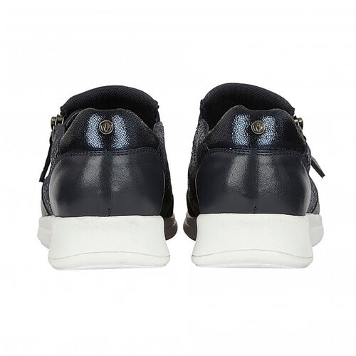 DOD - Lotus Navy Leather & Snake Sian Casual Trainers (Size 4)