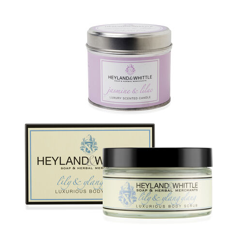 Heyland & Whittle: (Floral Collection) Jasmine Tin Candle & Lily Ylang Ylang Body Scrub