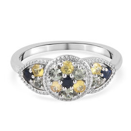 Rainbow Sapphire Ring in Platinum Overlay Sterling Silver 1.00 ct.