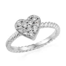 GP Diamond Heart Cluster Ring in Platinum Plated Sterling Silver