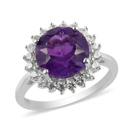 Natural Canela Amethyst and Natural Cambodian Zircon Halo Ring in Platinum Overlay Sterling Silver 3