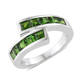 Russian Diopside (Sqr), Ring in Platinum Overlay Sterling Silver 1.500 Ct, Silver wt 4.75 Gms.