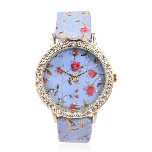 STRADA Japanese Movement Water Resistant White Austrian Crystal Studded Floral Pattern Watch with Li