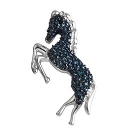 Blue Diamond (Rnd) Horse Pendant in Platinum and Blue Overlay Sterling Silver