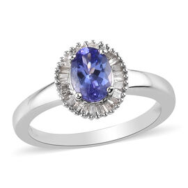 Tanzanite and Diamond Halo Ring in Platinum Overlay Sterling Silver 1.00 Ct.