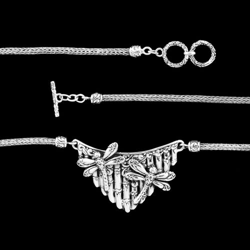 Royal Bali Collection - Sterling Silver Dragonfly Necklace (Size 20), Silver wt. 24.20 Gms