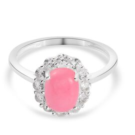 Pink Jade and Natural Cambodian Zircon Halo Ring in Sterling Silver 1.93 Ct.
