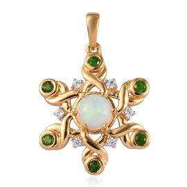 Ethiopian Welo Opal, Russian Diopside and Natural Cambodian Zircon Pendant in 14K Gold Overlay Sterl