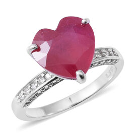 African Ruby (Hrt 8.15 Ct), Natural White Cambodian Zircon Ring in Rhodium Overlay Sterling Silver 8