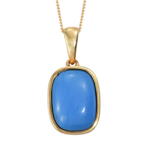 Ceruleite (Cush) Solitaire Pendant With Chain in 14K Gold Overlay Sterling Silver 5.000 Ct.