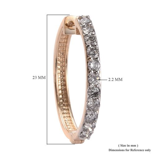 Limited Edition- 9K Yellow Gold SGL Certified Diamond (I3/G-H) Hoop Earrings (with Clasp Lock) 1.00 Ct.