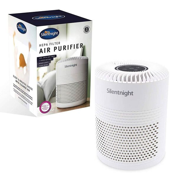 Silentnight Air Purifier with HEPA and Carbon Filter System & Night Light (29x19cm)