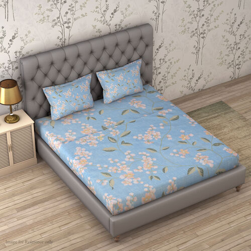 4 Piece Set : Floral Printed Microfibre Sheet Set including Flat Sheet (275x265cm), Fitted Sheet (15