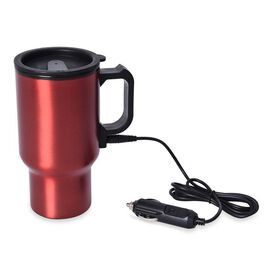 Stainless Steel Electric Mug with Car Charger (Size 6.5x8x16.5 Cm) - Wine Red