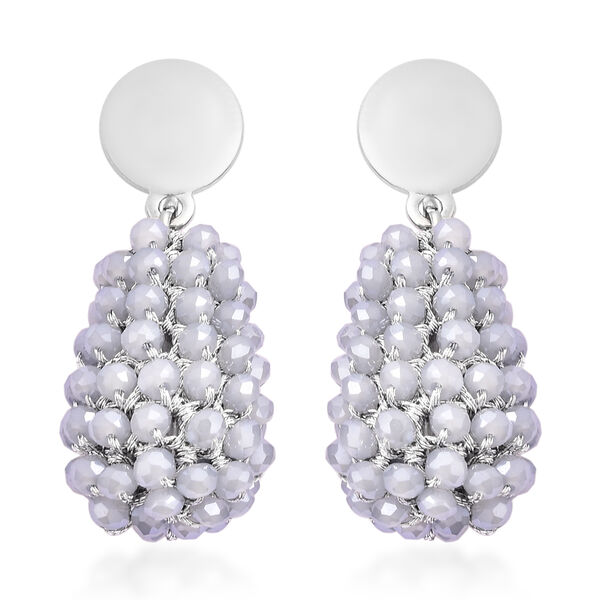 Simulated White Topaz Beaded Drop Earrings (with Push Back) in Silver Tone