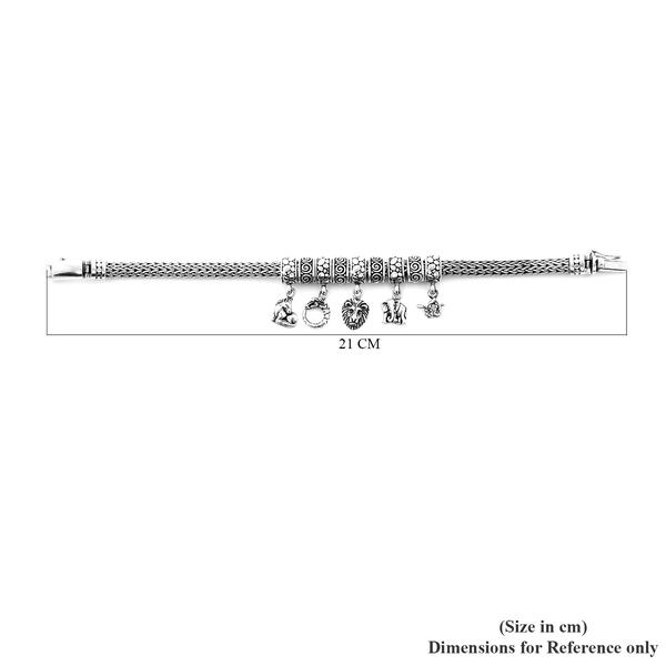 Royal Bali Collection - Sterling Silver Multi Charm Tulang Naga Bracelet (Size 7.25), Silver wt 45.80 Gms
