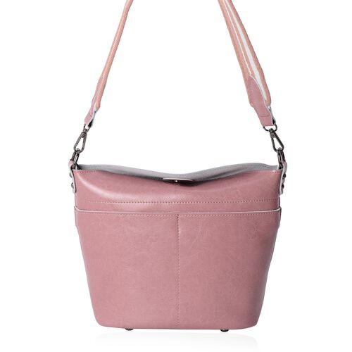 Super Reduction Deal 100% Genuine Leather Dusky Pink Colour Shoulder Bag with Removable Shoulder Str
