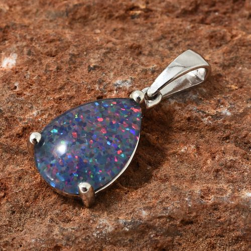 Australian Boulder Opal (Pear) Solitaire Pendant in Platinum Overlay Sterling Silver 3.250 Ct.