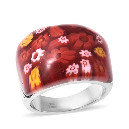 Red Colour Murano Glass Dome Ring in Stainless Steel