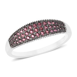 Rhodolite Garnet (Rnd) Band Ring in Two Tone Overlay Sterling Silver 2.25 Ct.