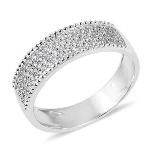 Micro Pave Set Natural Cambodian Zircon (Rnd) Ring in Rhodium Overlay Sterling Silver.No Of Zircon 80 Pcs