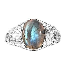 Artisan Crafted Rare Size Labradorite (Ovl 40x30 mm) Bangle (Size 7.5) in Sterling Silver 76.790 Ct,