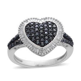 0.50 Ct Blue Diamond and White Diamond Cluster Heart Ring in Platinum Plated Silver