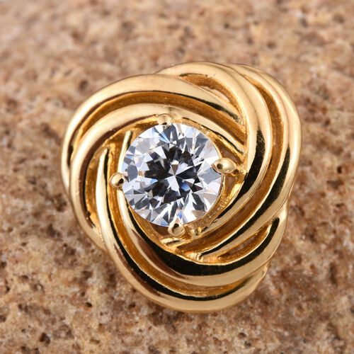 J Francis - 14K Gold Overlay Sterling Silver (Rnd) Knot Pendant Made with SWAROVSKI ZIRCONIA