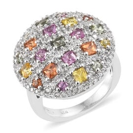Rainbow Sapphire (Sqr) Cluster Ring in Platinum Overlay Sterling Silver Ring 3.000 Ct, Silver wt 6.5