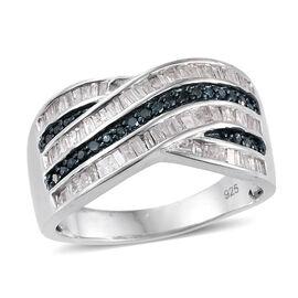 Blue Diamond (Rnd), White Diamond Criss Cross Ring in Platinum Overlay Sterling Silver 1.000 Ct. Silver wt 5.64 Gms.