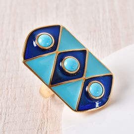 AA Arizona Sleeping Beauty Turquoise Enamelled Gladiator Ring in 14K Gold Overlay Sterling Silver 1.50 Ct, Silver wt 9.50 Gms
