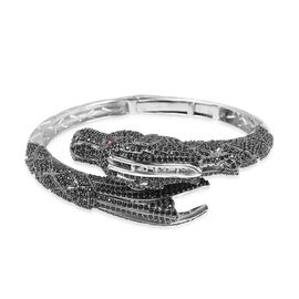 Designer Inspired - Boi Ploi Black Spinel (Rnd) Simulated Ruby Dragon Bangle (Size 7.25) in Rhodium Overlay with Black Plating Sterling Silver, Silver wt 31.00 Gms.