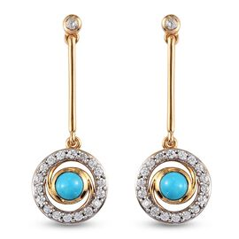 Arizona Sleeping Beauty Turquoise Earrings (with Push Back) in 14K Gold Overlay Sterling Silver 2.16