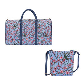Signare Tapestry - 2 Piece Set - Blossom and Swallow Travel Bag (56X29X33cm) and Sling Bag (56X29X33
