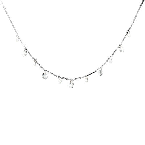 ELANZA  Simulated Diamond Charm Necklace in Sterling Silver, Silver wt 5.47 Gms.