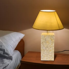 NAKKASHI - MOP Inlaid Table Lamp with Shade (IS/27) (44X10CM/ WIRE LEN-67 CM) - IVORY
