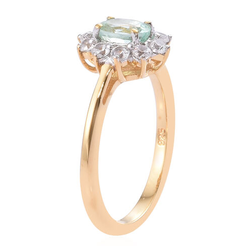 Boyaca Colombian Emerald (Ovl), Natural Cambodian Zircon Ring in 14K Gold Overlay Sterling Silver 1.000 Ct.