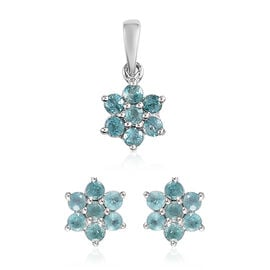 2 Piece Set -  Grandidierite Floral Stud Earrings (with Push Back) and Floral Pendant in Platinum Ov