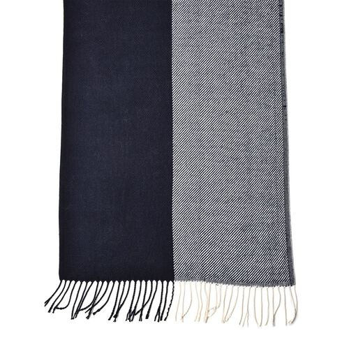 Designer Inspired Black and White Colour Stripes Pattern Scarf with Tassels (Size 180X65 Cm)