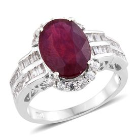 10.25 Ct African Ruby and Zircon Halo Ring in Platinum Plated Silver 5.53 Grams
